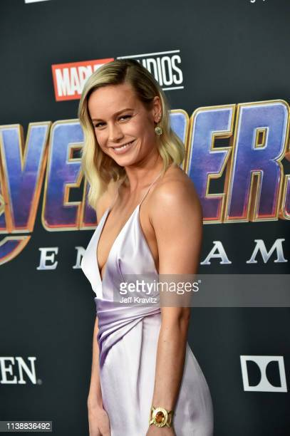 """Brie Larson attends the World Premiere of Walt Disney Studios Motion Pictures """"Avengers: Endgame"""" at Los Angeles Convention Center on April 22, 2019..."""