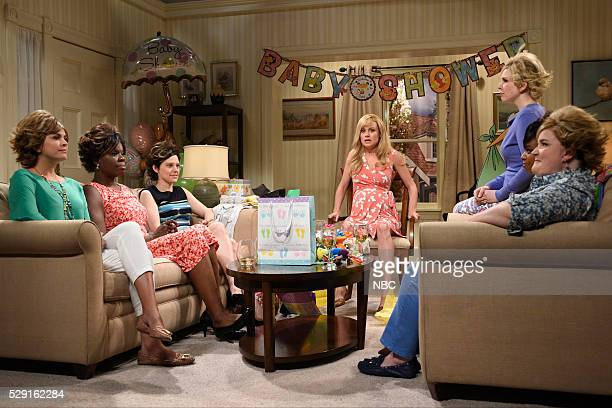 LIVE Brie Larson Episode 1702 Pictured Cecily Strong Leslie Jones Kate McKinnon Brie Larson Vanessa Bayer Sasheer Zamata and Aidy Bryant during the...