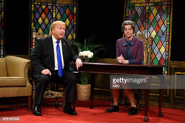 LIVE Brie Larson Episode 1702 Pictured Darrell Hammond as Donald Trump and Dana Carvey as Church Lady during the Church Lady Cold Open sketch on May...