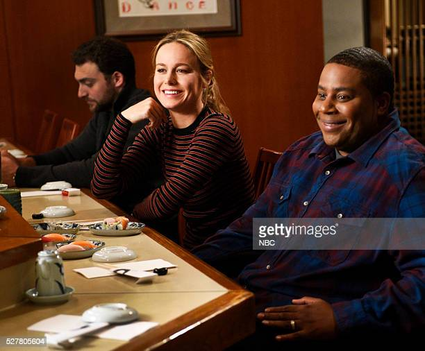 LIVE 'Brie Larson' Episode 1702 Pictured Host Brie Larson and Kenan Thompson on May 3 2016