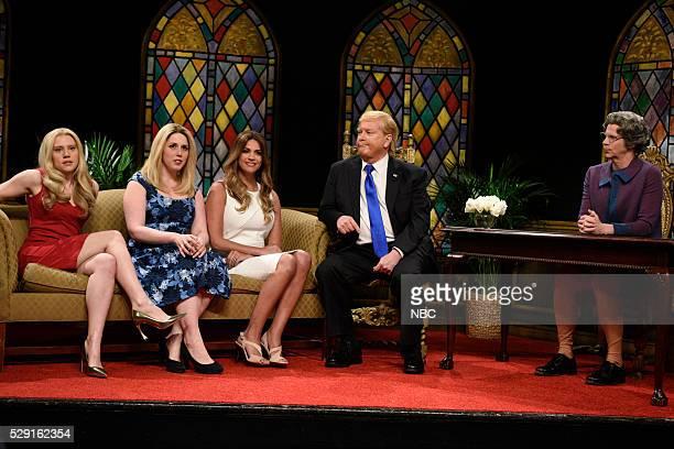 LIVE 'Brie Larson' Episode 1702 Pictured Kate McKinnon Vanessa Bayer as Ivanka Trump Cecily Strong as Melania Trump Darrell Hammond as Donald Trump...