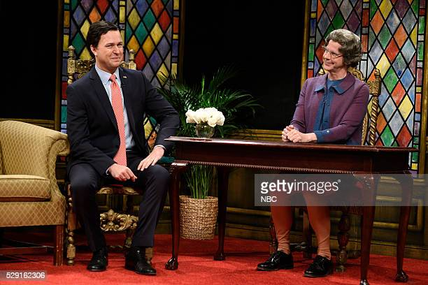 LIVE Brie Larson Episode 1702 Pictured Taran Killam as Senator Ted Cruz and Dana Carvey as Church Lady during the Church Lady Cold Open sketch on May...