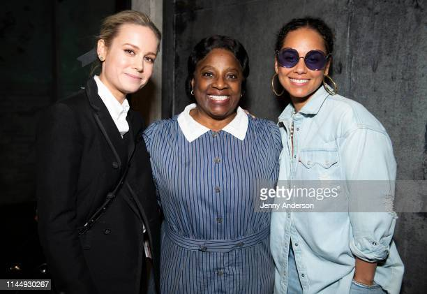 Brie Larson LaTanya Richardson Jackson and Alicia Keys pose backstage at To Kill a Mockingbird at the Shubert Theatre on April 24 2019 in New York...