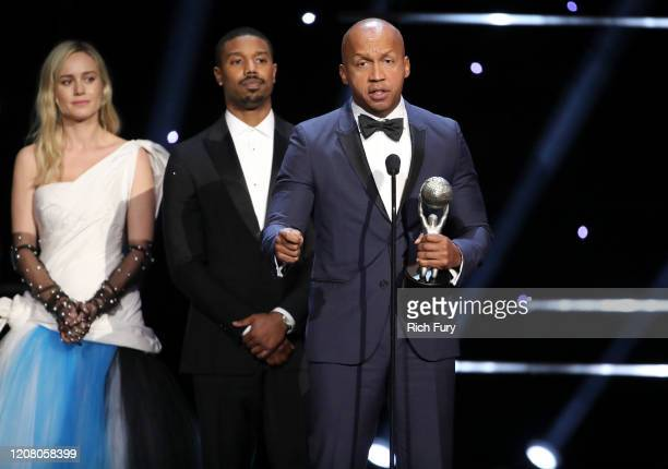 Brie Larson Michael B Jordan and Bryan Stevenson accept Outstanding Motion Picture for Just Mercy onstage during the 51st NAACP Image Awards...