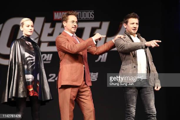 Brie Larson Robert Downey Jr Jeremy Renner attend the press conference for Marvel Studios' 'Avengers Endgame' South Korea premiere on April 15 2019...