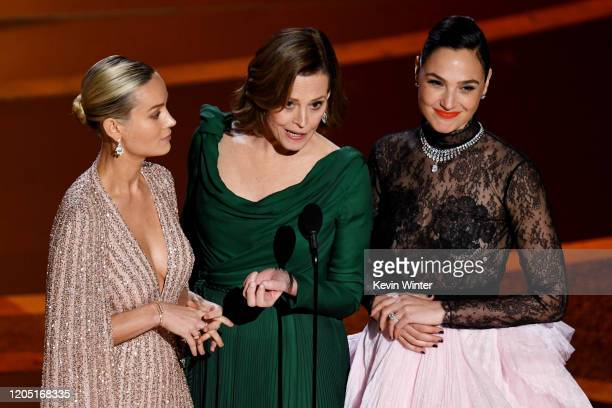 Brie Larson, Sigourney Weaver, and Gal Gadot speak onstage during the 92nd Annual Academy Awards at Dolby Theatre on February 09, 2020 in Hollywood,...