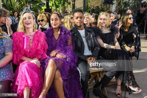 Brie Larson Tracee Ellis Ross Stephan James and Dakota Fanning attend Rodarte FW19 Fashion Show at The Huntington Library and Gardens on February 05...