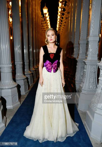 Brie Larson wearing Gucci attends the 2019 LACMA Art Film Gala Presented By Gucci at LACMA on November 02 2019 in Los Angeles California