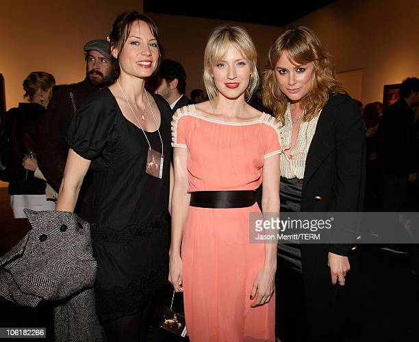 Brie Shaffer Beth Riesgraf and Anine Bing attend the Bryten Goss 2008 Memorial Exhibition at Bergamot Station on February 21 2008 in Santa Monica...