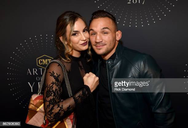 Brie Willett and mixed martial artist Michael Chandler arrive at the 2017 CMT Artists Of The Year on October 18, 2017 in Nashville, Tennessee.