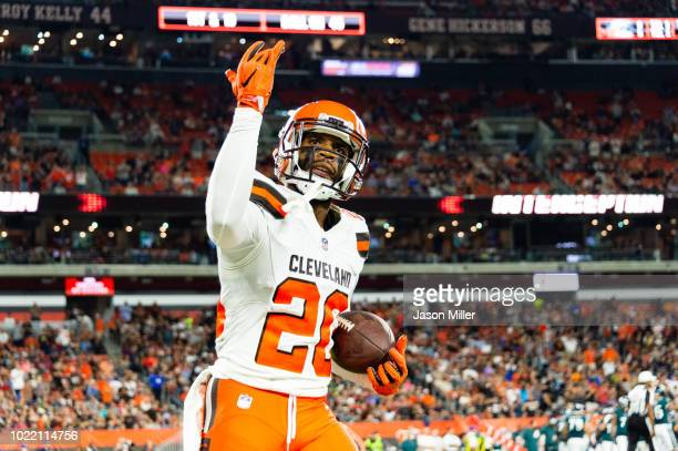 Briean BoddyCalhoun of the Cleveland Browns celebrates after an catching an interception during the first half of a preseason game against the...