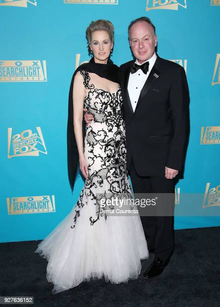 Brieanne Cameron and actor/director Tom McGrath attend the Fox Searchlight And 20th Century Fox Oscars PostParty on March 4 2018 in Los Angeles...