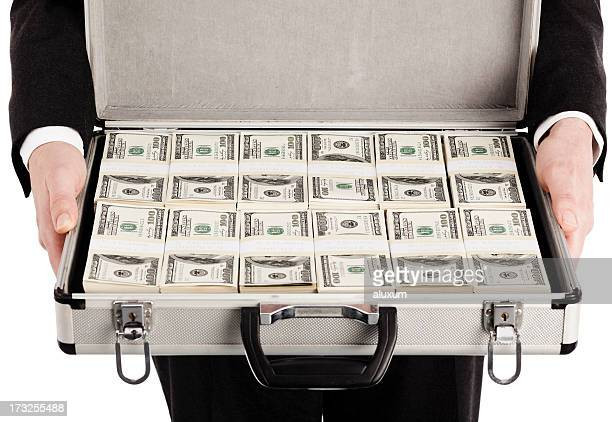 briefcase full of money - briefcase stock photos and pictures