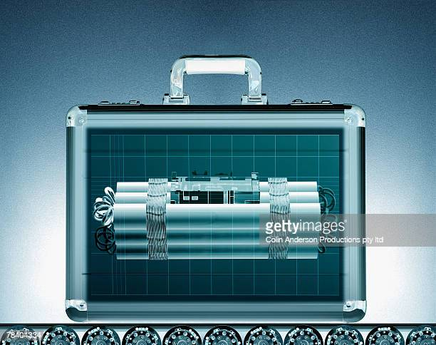 briefcase with bomb - explosive material stock photos and pictures