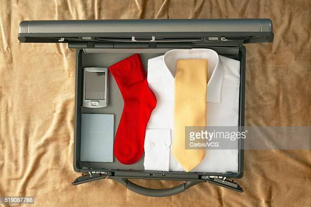 Briefcase with Passport, PDA and Business Clothes
