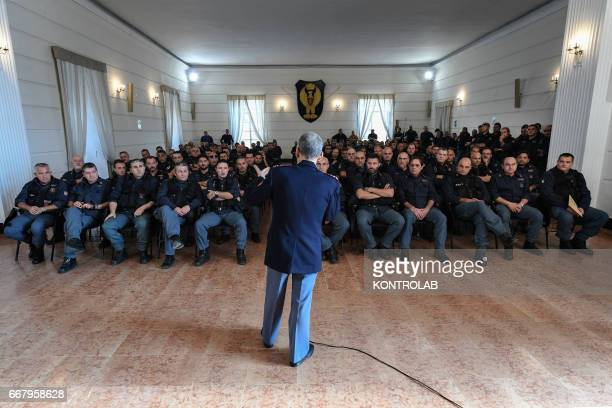 A briefing in classroom with antiriot policemen during the training and on street operations in Naples The antiriot department is one of most active...