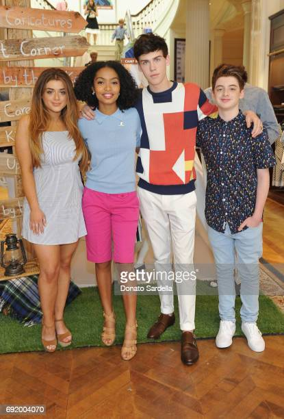 Brielle Barbusca Yara Shahidi Aidan J Alexander and Thomas Barbusca at the Brooks Brothers Beverly Hills summer camp party benefitting St Jude...