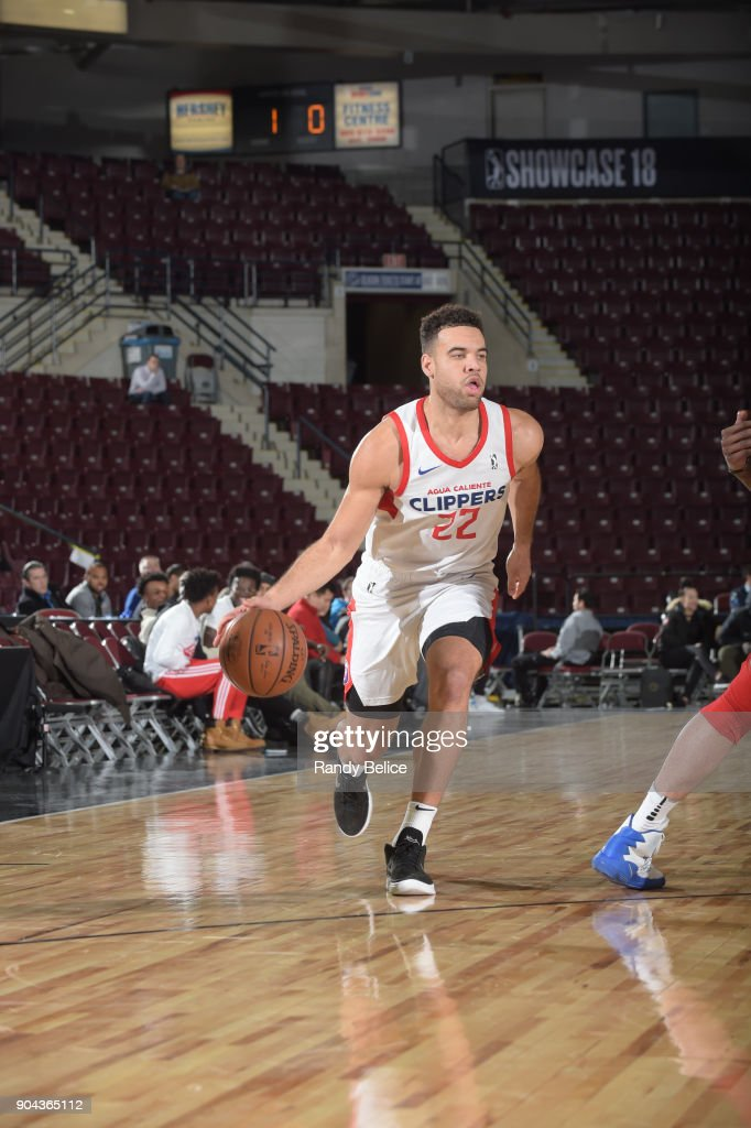 Brien #22 of the Agua Caliente Clippers handles the ball against the Westchester Knicks at NBA G League Showcase Game 19 on January 12, 2018 at the Hershey Centre in Mississauga, Ontario Canada.