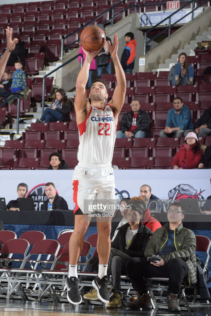 Brien #22 of the Agua Caliente Clippers shoots the ball against the Westchester Knicks at NBA G League Showcase Game 19 on January 12, 2018 at the Hershey Centre in Mississauga, Ontario Canada.