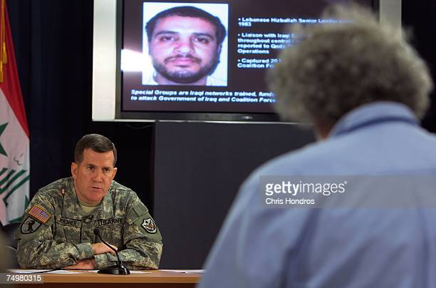 Brig Gen Kevin J Bergner MultiNational ForceIraq spokes person talks to the media on July 2 2007 at the heavily fortified Green Zone area in Baghdad...