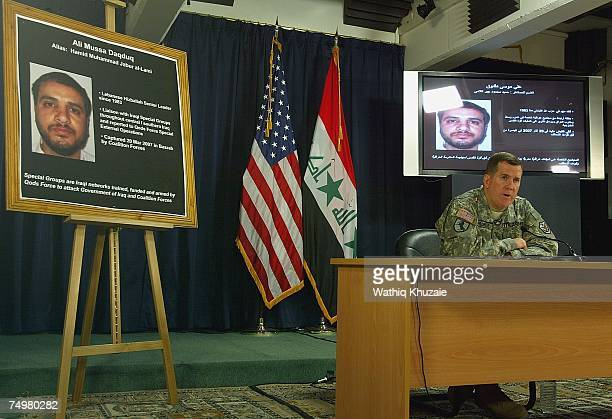 Brig Gen Kevin J Bergner MultiNational ForceIraq spokesperson talks to the media on July 2 2007 at the heavily fortified Green Zone area in Baghdad...