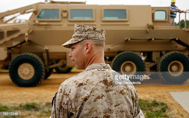 Brig Gen Michael Brogan joint program executive officer and commander of Marine Corps Systems Command answers questions from the news media during a...