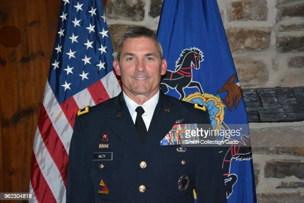 Brig Gen Timothy Hilty promoted to major general during a ceremony at Fort Indiantown Gap May 14 2018 Image courtesy Sgt Shane Smith / Joint Force...