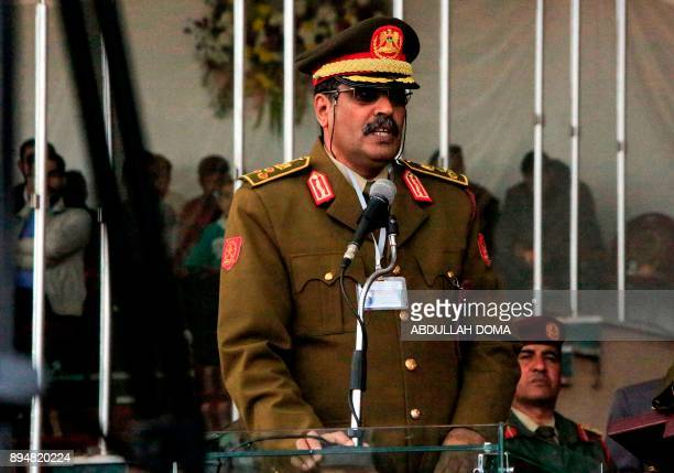 Brigadier Ahmed alMesmari spokesman of the Libyan armed forces loyal to General Khalifa Haftar speaks during a graduation ceremony for new cadets at...