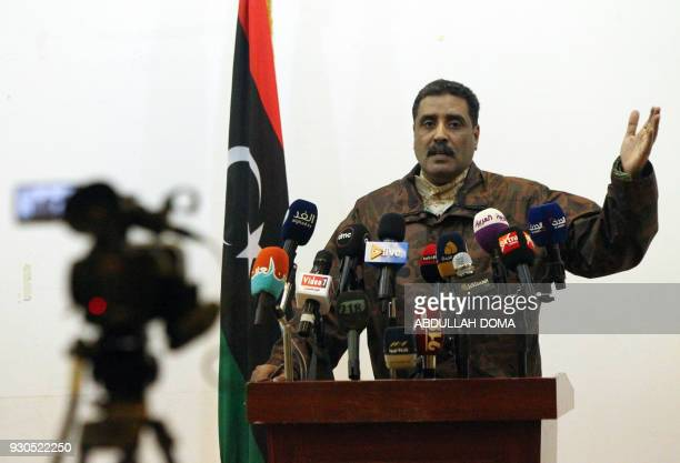 Brigadier Ahmed alMesmari spokesman of the Libyan armed forces loyal to General Khalifa Haftar speaks during a press conference in the eastern city...
