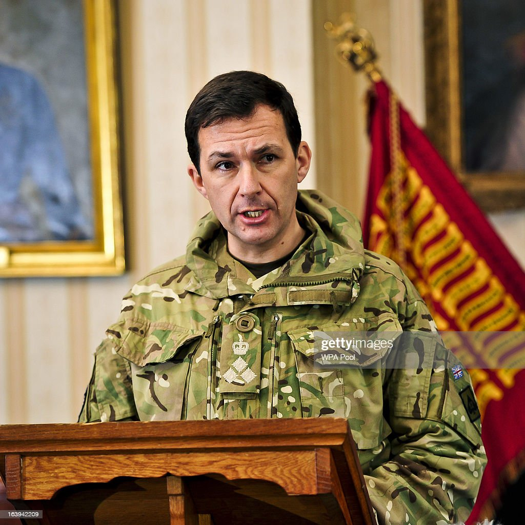 Brigadier Doug Chalmers speaks at a press conference at Buller Barracks, which the family of Lance Corporal James Ashworth attended on March 18, 2013 in Aldershot, England. Lance Corporal James Ashworth has been awarded the Victoria Cross in recognition of his 'extraordinary courage' while serving with the 1st Battalion The Grenadier Guards in Helmand province where he died last June.