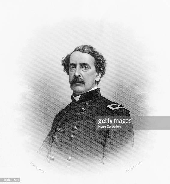 US Brigadier General Abner Doubleday circa 1862 Engraved by J C Buttre from a photograph by Mathew Brady