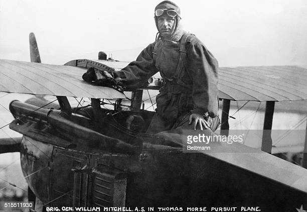 Brigadier General Billy Mitchell in cockpit of a Thomas Morse Pursuit Plane. Ca. 1910s.