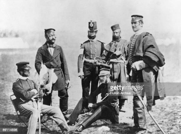 Brigadier General Charles van Straubenzee with other officers of the Royal East Kent Regiment in the Ukraine during the Crimean War, circa 1855.
