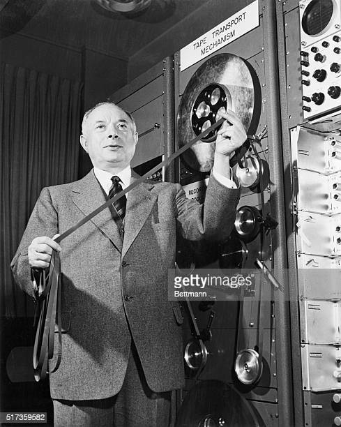 Brigadier General David Sarnoff at a demonstration of the RCA Electronic Light Amplifier which he says will have important applications in television...