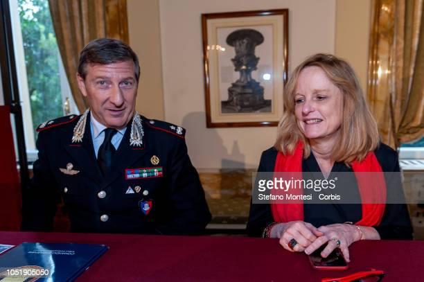 Brigadier General Fabrizio Parrulli Commander of the Italian Carabinieri Command for the Protection of Cultural Heritage and Dr Lynda Albertson...