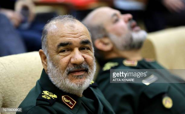 Brigadier General Hossein Salami deputy commander of Iran's Islamic Revolutionary Guard Corps attends a conference on the approaching 40th...