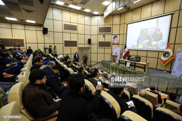 Brigadier General Hossein Salami deputy commander of Iran's Islamic Revolutionary Guard Corps speaks during a conference on the approaching 40th...