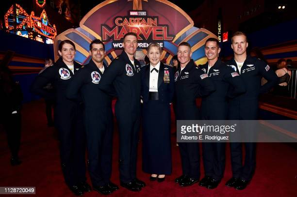 Brigadier General Jeannie M Leavitt and US Air Force Thunderbirds attend the Los Angeles World Premiere of Marvel Studios' Captain Marvel at Dolby...