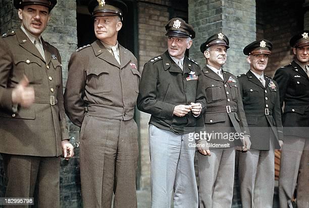 Brigadier General Jesse Auton General Dwight D Eisenhower Supreme Allied Commander in Europe Carl Andrew Spaatz commander of Strategic Air Forces in...