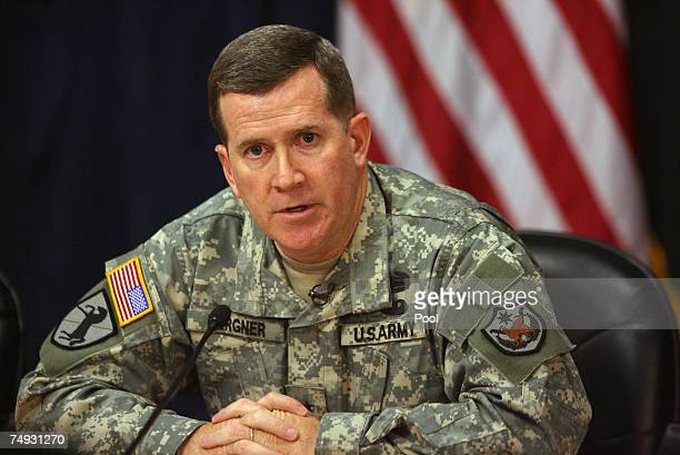Brigadier General Kevin Bergner US military spokesman talks during a press conference on June 27 2007 in Baghdad Iraq The two US officials gave an...