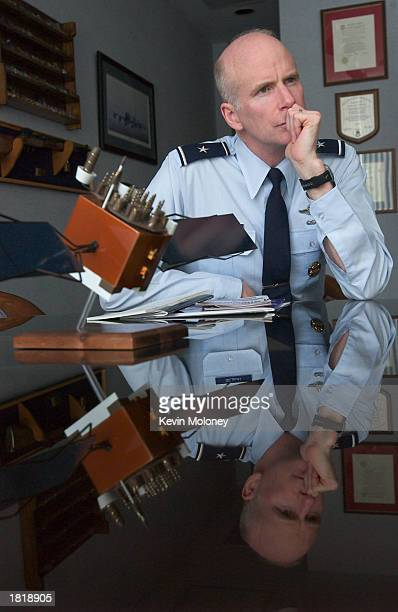 S Brigadier General S Taco Gilbert III Commandant of Cadets at the US Air Force Academy speaks at the school February 20 2003 in Colorado Springs...