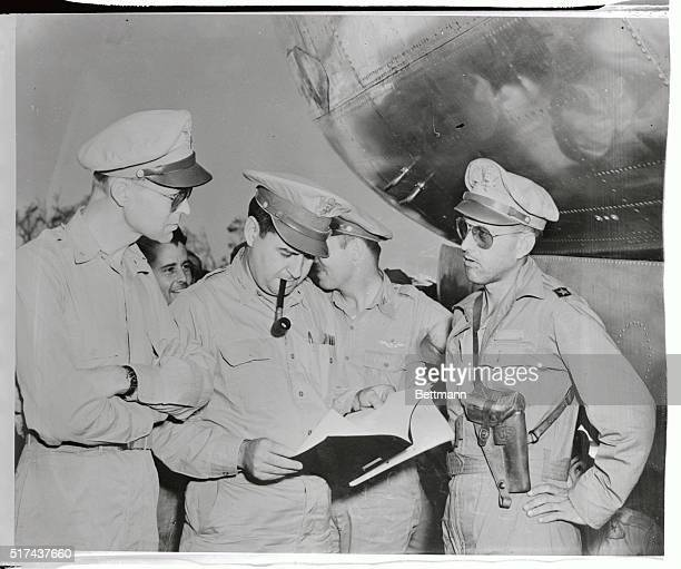 Brigadier General Thomas S. Power , the Senior Officer on the March 10th attack on Tokyo and leader of B-29 units from Guam, gives a resume of the...
