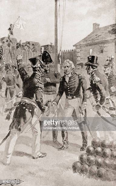 Brigadier General William Hull surrenders the fort and town of Detroit Michigan America during The Siege of Detroit aka the Surrender of Detroit or...