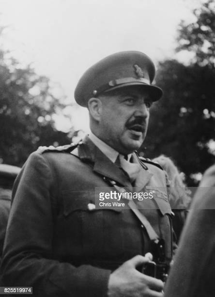 Brigadier Hugh Llewellyn Glyn Hughes of the Royal Army Medical Corps, the first witness for the prosecution in the Belsen trial at Luneburg, Germany,...