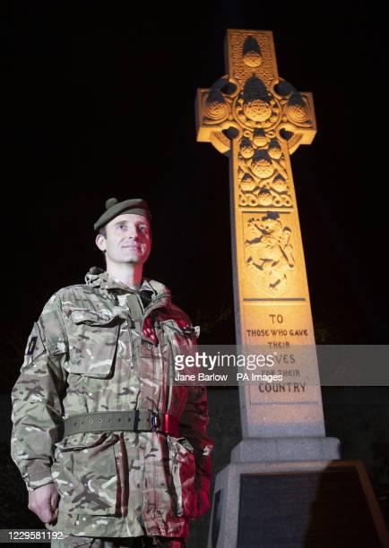 Brigadier Robin Lindsay stands alongside the Gretna Rail Disaster Memorial at Edinburgh's Rosebank Cemetery, to remember the war dead on the...