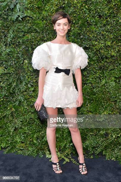 Brigette LundyPaine wearing Chanel attends Chanel Dinner Celebrating our Majestic Oceans A Benefit for NRDC at Private Residence on June 2 2018 in...