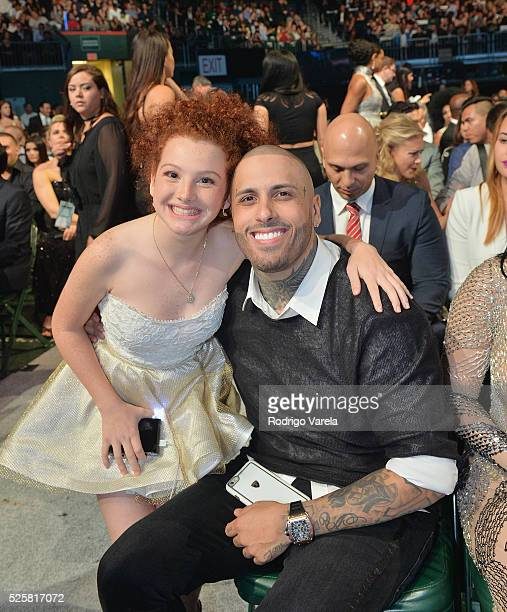 Briggitte Bozzo and Nicky Jam seen at the Billboard Latin Music Awards at Bank United Center on April 28 2016 in Miami Florida