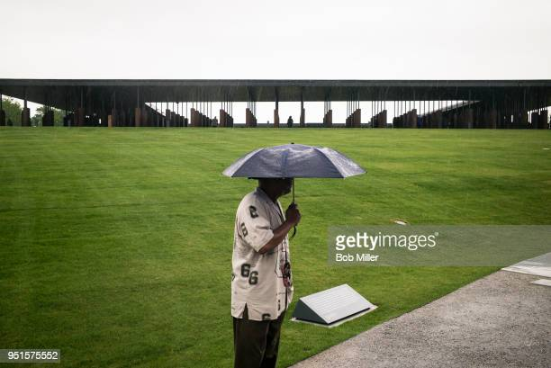 Briggs visits the National Memorial For Peace And Justice on April 26, 2018 in Montgomery, Alabama. The memorial is dedicated to the legacy of...