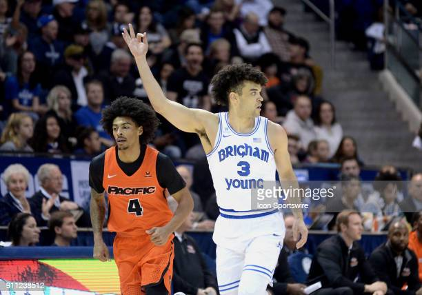 Brigham Young Cougars guard Elijah Bryant celebrates after hitting a three pointer during a game between Pacific and BYU on January 27 2018 at the...