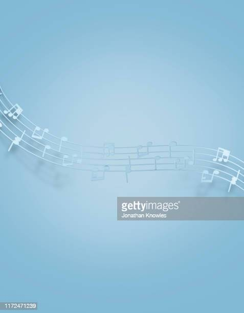bright blue music notes - musical symbol stock pictures, royalty-free photos & images